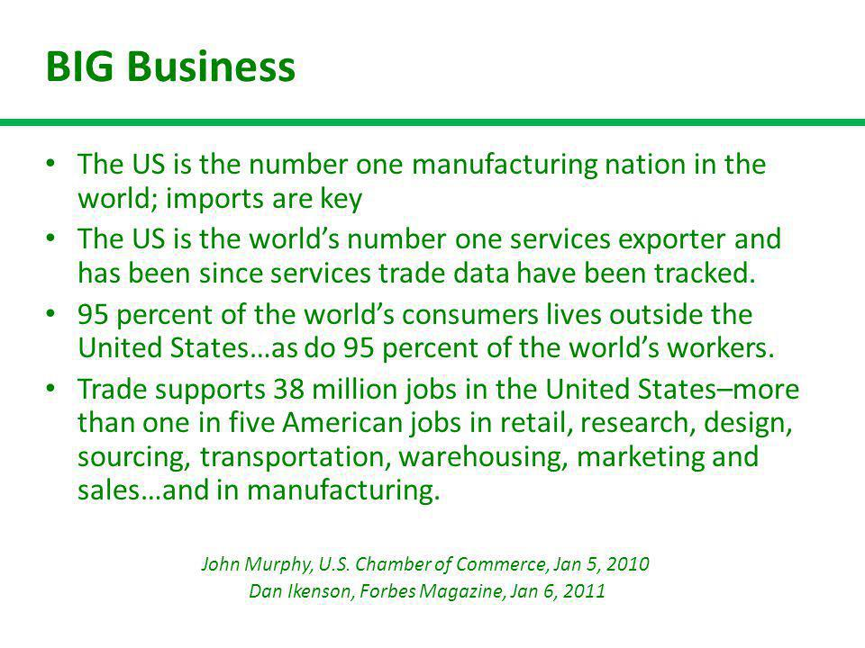 BIG Business The US is the number one manufacturing nation in the world; imports are key The US is the worlds number one services exporter and has bee