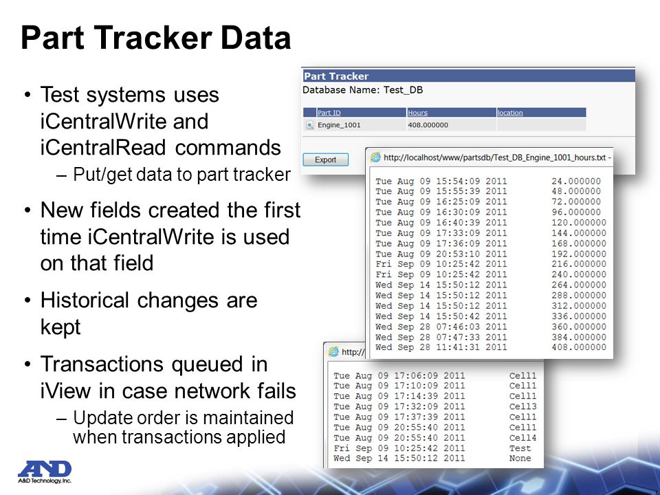 Part Tracker Data Test systems uses iCentralWrite and iCentralRead commands –Put/get data to part tracker New fields created the first time iCentralWrite is used on that field Historical changes are kept Transactions queued in iView in case network fails –Update order is maintained when transactions applied