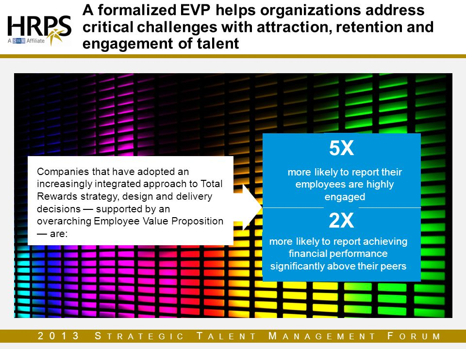 2013 S TRATEGIC T ALENT M ANAGEMENT F ORUM A formalized EVP helps organizations address critical challenges with attraction, retention and engagement