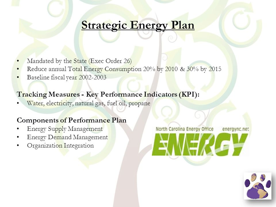 Strategic Energy Plan Mandated by the State (Exec Order 26) Reduce annual Total Energy Consumption 20% by 2010 & 30% by 2015 Baseline fiscal year 2002-2003 Tracking Measures - Key Performance Indicators (KPI): Water, electricity, natural gas, fuel oil, propane Components of Performance Plan Energy Supply Management Energy Demand Management Organization Integration