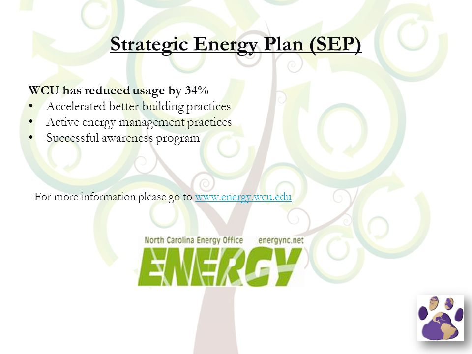Strategic Energy Plan (SEP) WCU has reduced usage by 34% Accelerated better building practices Active energy management practices Successful awareness program For more information please go to www.energy.wcu.eduwww.energy.wcu.edu