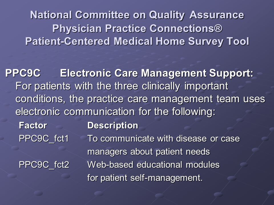 National Committee on Quality Assurance Physician Practice Connections® Patient-Centered Medical Home Survey Tool PPC9CElectronic Care Management Supp