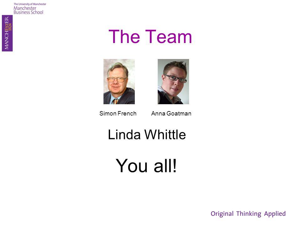 The Team Linda Whittle You all! Simon FrenchAnna Goatman