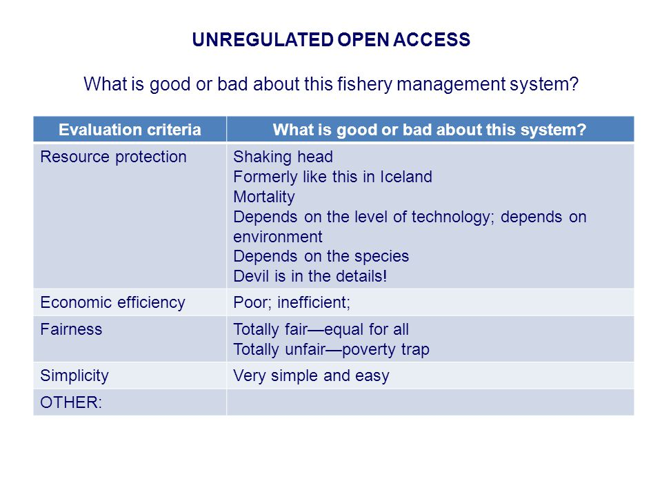 UNREGULATED OPEN ACCESS What is good or bad about this fishery management system.