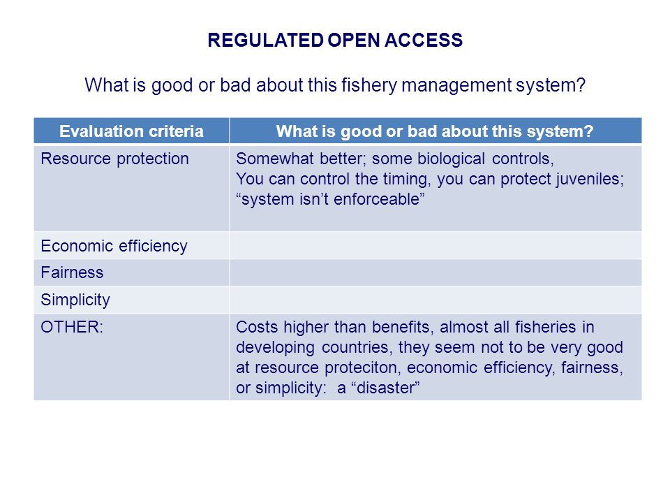 REGULATED OPEN ACCESS What is good or bad about this fishery management system.