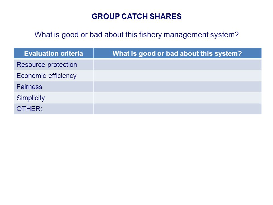 GROUP CATCH SHARES What is good or bad about this fishery management system.