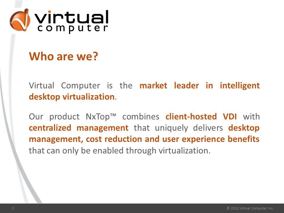 Intelligent Desktop Virtualization © 2011 Virtual Computer Inc.