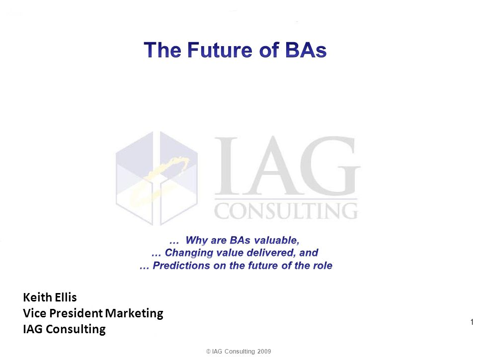 Keith Ellis Vice President Marketing IAG Consulting © IAG Consulting 2009 1