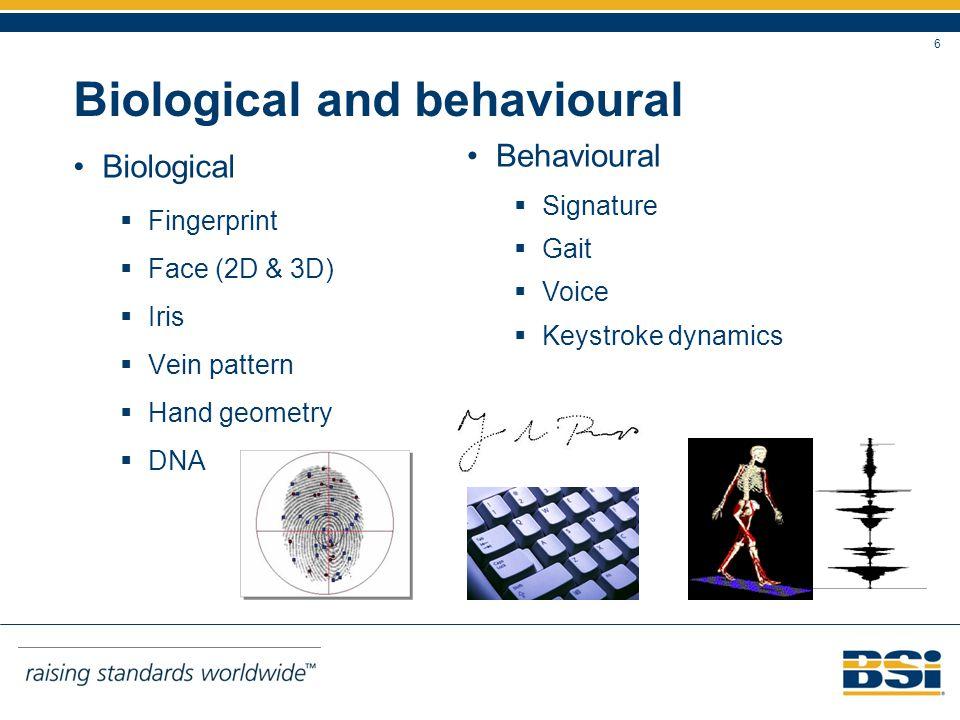 6 Biological and behavioural Biological Fingerprint Face (2D & 3D) Iris Vein pattern Hand geometry DNA Behavioural Signature Gait Voice Keystroke dynamics