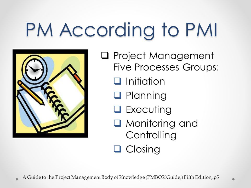 PM According to PMI Project Management Five Processes Groups: Initiation Planning Executing Monitoring and Controlling Closing A Guide to the Project