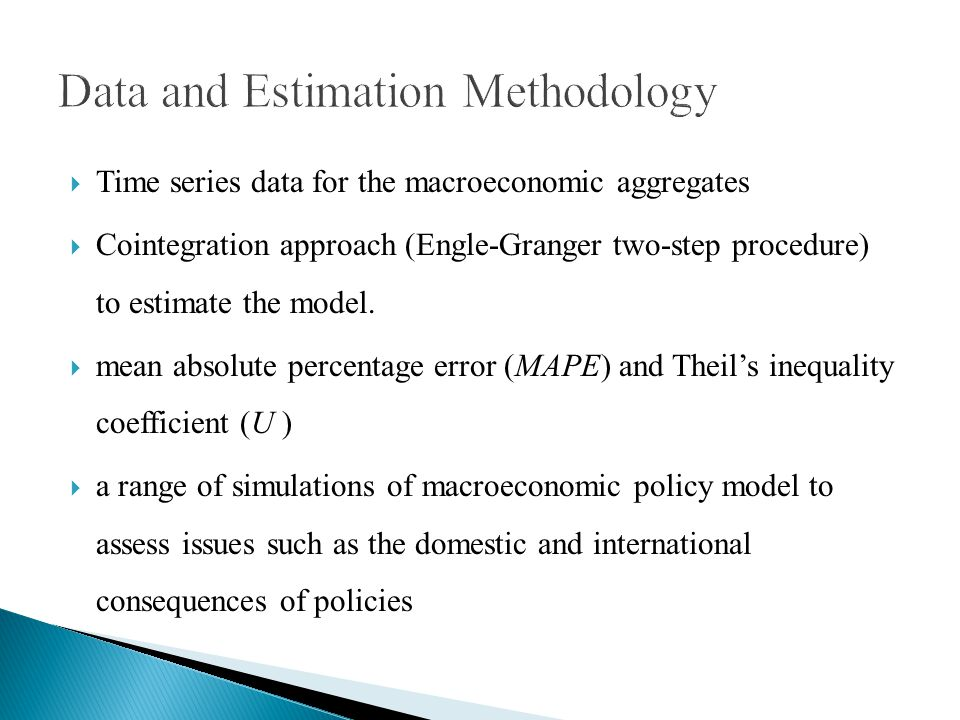 Time series data for the macroeconomic aggregates Cointegration approach (Engle-Granger two-step procedure) to estimate the model.