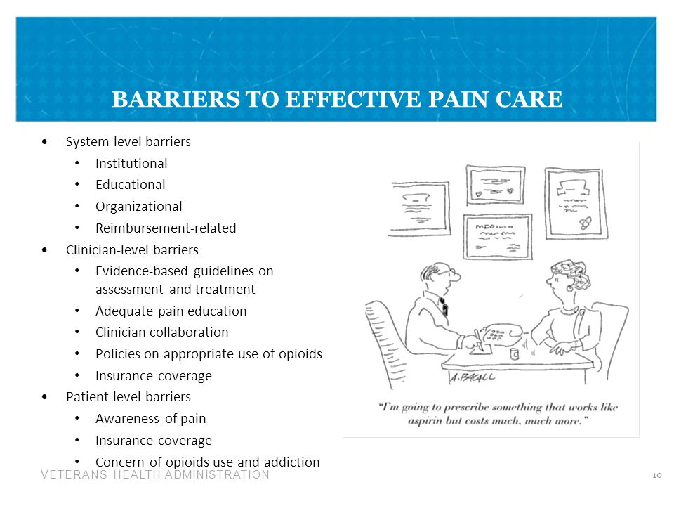 VETERANS HEALTH ADMINISTRATION BARRIERS TO EFFECTIVE PAIN CARE System-level barriers Institutional Educational Organizational Reimbursement-related Clinician-level barriers Evidence-based guidelines on assessment and treatment Adequate pain education Clinician collaboration Policies on appropriate use of opioids Insurance coverage Patient-level barriers Awareness of pain Insurance coverage Concern of opioids use and addiction 10