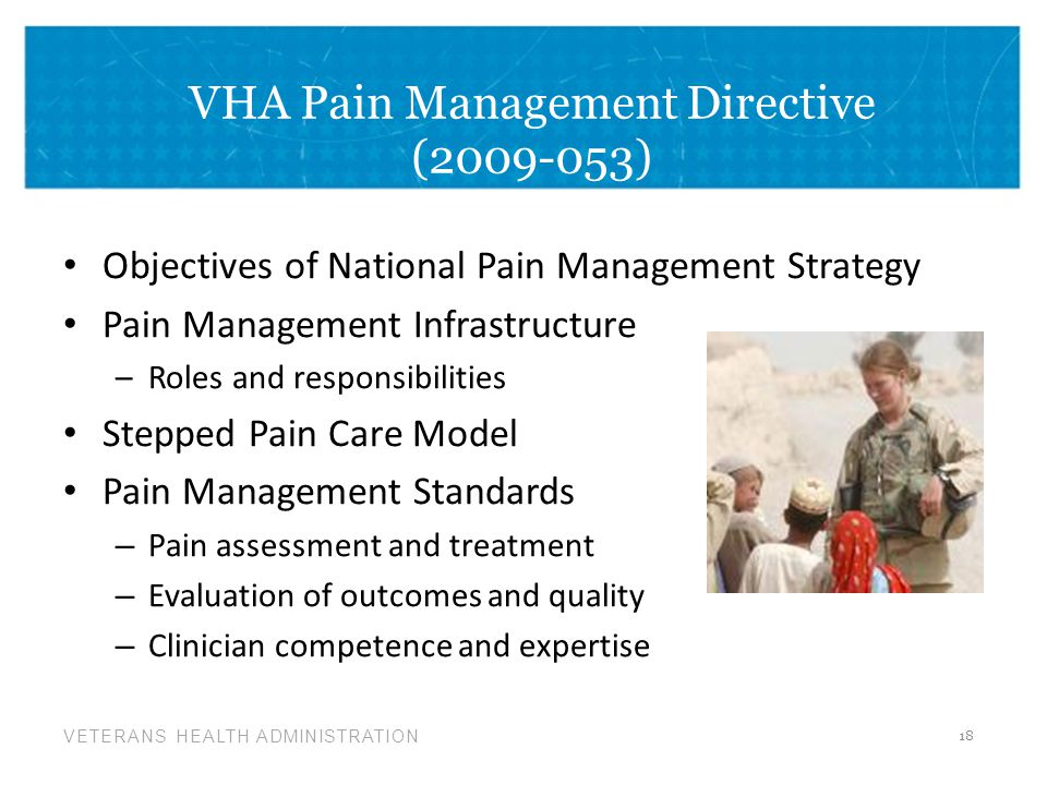 VETERANS HEALTH ADMINISTRATION VHA Pain Management Directive (2009-053) Objectives of National Pain Management Strategy Pain Management Infrastructure –Roles and responsibilities Stepped Pain Care Model Pain Management Standards – Pain assessment and treatment – Evaluation of outcomes and quality – Clinician competence and expertise 18