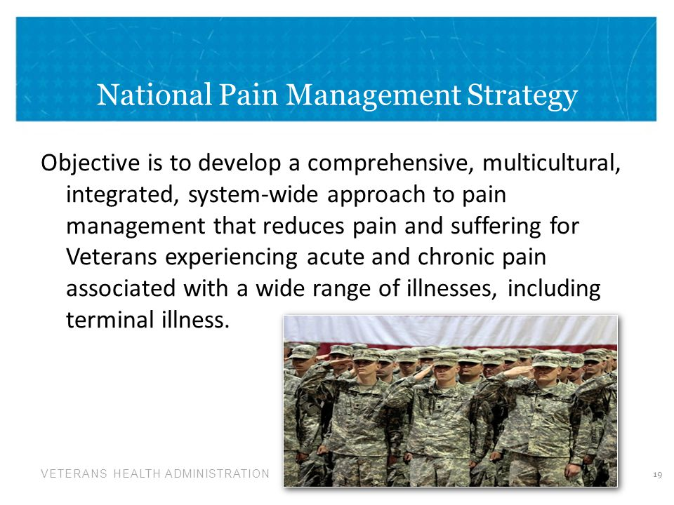 VETERANS HEALTH ADMINISTRATION National Pain Management Strategy Objective is to develop a comprehensive, multicultural, integrated, system-wide approach to pain management that reduces pain and suffering for Veterans experiencing acute and chronic pain associated with a wide range of illnesses, including terminal illness.