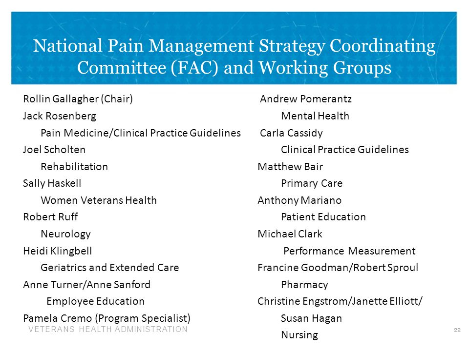 VETERANS HEALTH ADMINISTRATION National Pain Management Strategy Coordinating Committee (FAC) and Working Groups Rollin Gallagher (Chair) Andrew Pomerantz Jack Rosenberg Mental Health Pain Medicine/Clinical Practice Guidelines Carla Cassidy Joel ScholtenClinical Practice Guidelines Rehabilitation Matthew Bair Sally HaskellPrimary Care Women Veterans Health Anthony Mariano Robert RuffPatient Education NeurologyMichael Clark Heidi Klingbell Performance Measurement Geriatrics and Extended CareFrancine Goodman/Robert Sproul Anne Turner/Anne SanfordPharmacy Employee Education Christine Engstrom/Janette Elliott/ Pamela Cremo (Program Specialist) Susan Hagan Nursing 22