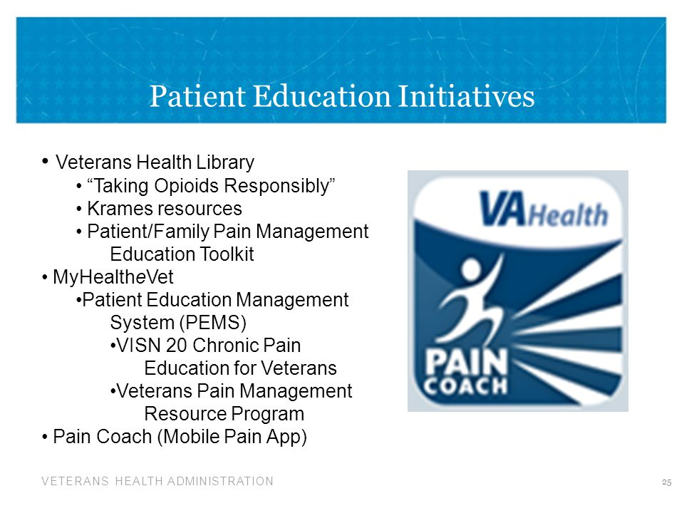 VETERANS HEALTH ADMINISTRATION Patient Education Initiatives 25 Veterans Health Library Taking Opioids Responsibly Krames resources Patient/Family Pain Management Education Toolkit MyHealtheVet Patient Education Management System (PEMS) VISN 20 Chronic Pain Education for Veterans Veterans Pain Management Resource Program Pain Coach (Mobile Pain App)