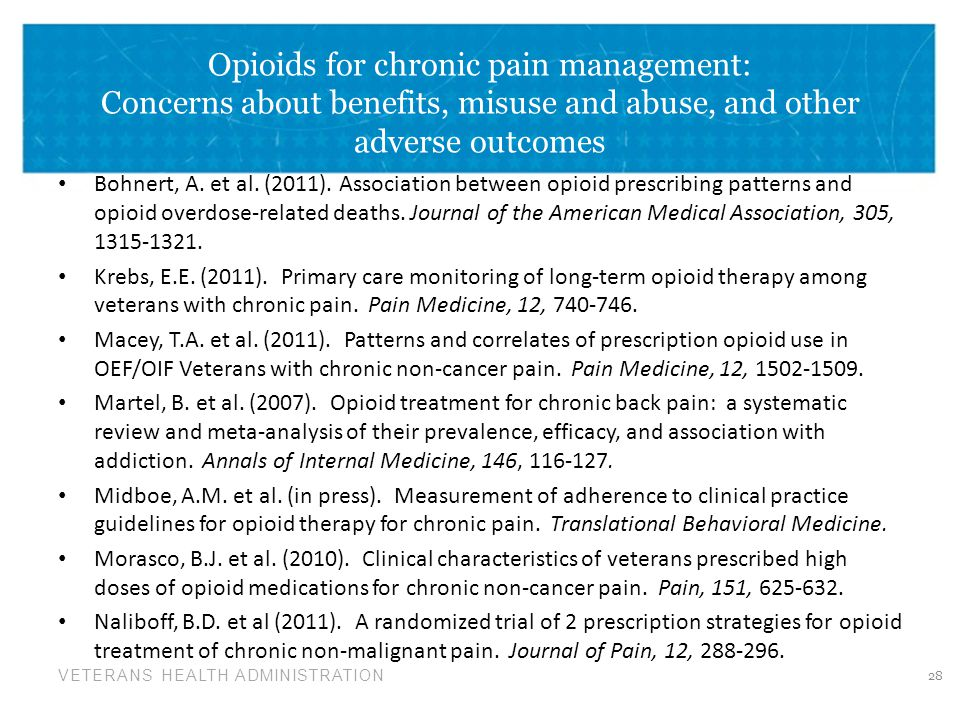 VETERANS HEALTH ADMINISTRATION Opioids for chronic pain management: Concerns about benefits, misuse and abuse, and other adverse outcomes Bohnert, A.