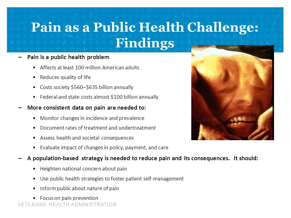 VETERANS HEALTH ADMINISTRATION Pain as a Public Health Challenge: Findings – Pain is a public health problem Affects at least 100 million American adults Reduces quality of life Costs society $560–$635 billion annually Federal and state costs almost $100 billion annually – More consistent data on pain are needed to: Monitor changes in incidence and prevalence Document rates of treatment and undertreatment Assess health and societal consequences Evaluate impact of changes in policy, payment, and care – A population-based strategy is needed to reduce pain and its consequences.