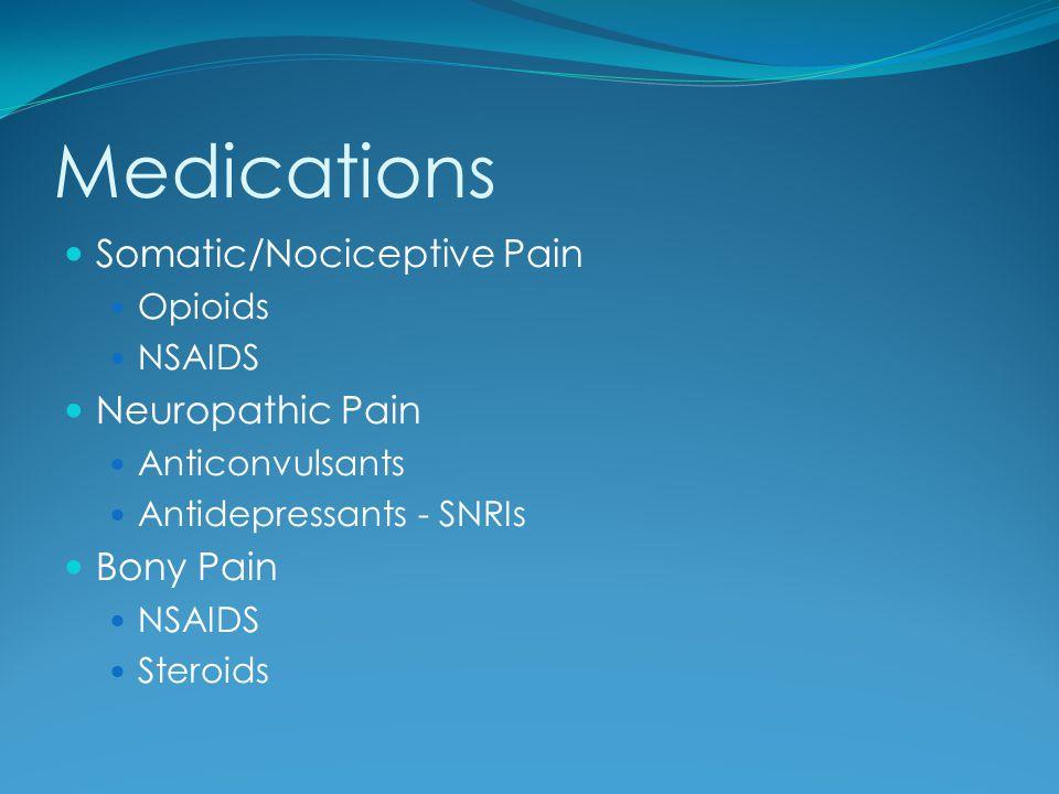 Medications Somatic/Nociceptive Pain Opioids NSAIDS Neuropathic Pain Anticonvulsants Antidepressants - SNRIs Bony Pain NSAIDS Steroids