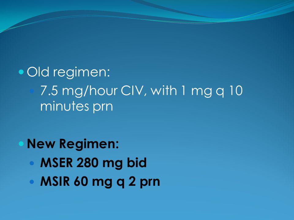 Old regimen: 7.5 mg/hour CIV, with 1 mg q 10 minutes prn New Regimen: MSER 280 mg bid MSIR 60 mg q 2 prn