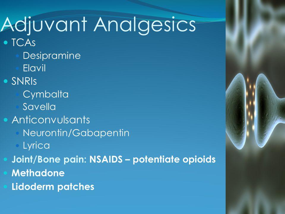 Adjuvant Analgesics TCAs Desipramine Elavil SNRIs Cymbalta Savella Anticonvulsants Neurontin/Gabapentin Lyrica Joint/Bone pain: NSAIDS – potentiate op
