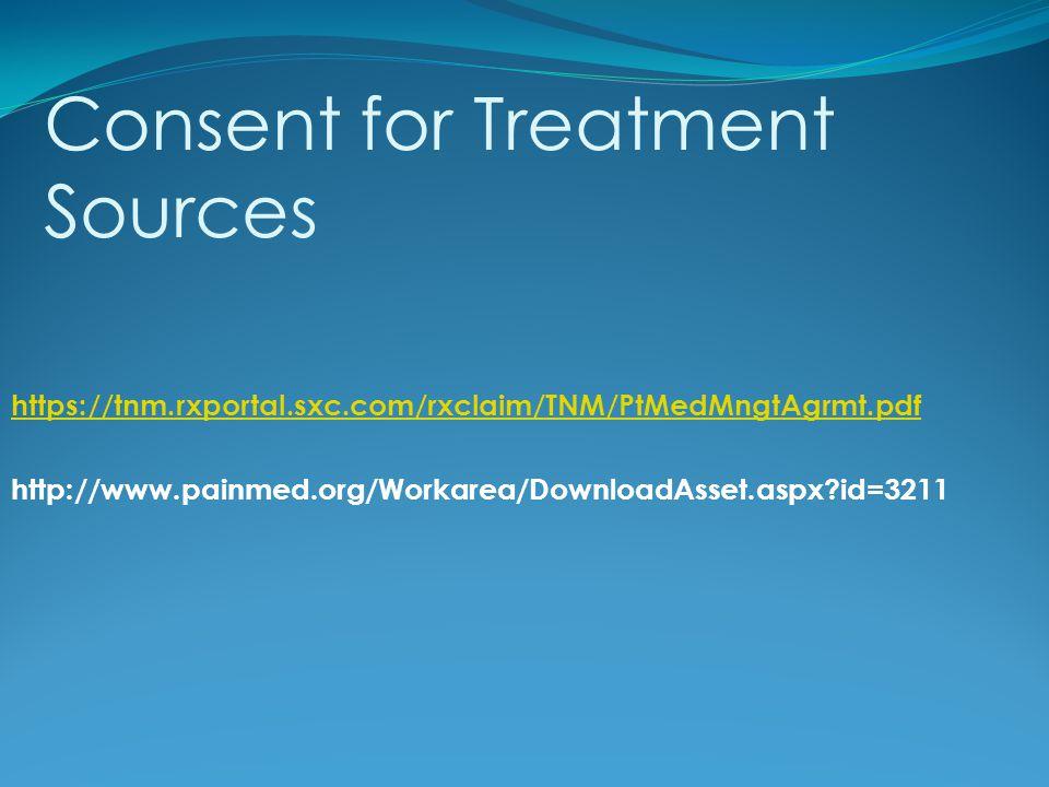 https://tnm.rxportal.sxc.com/rxclaim/TNM/PtMedMngtAgrmt.pdf http://www.painmed.org/Workarea/DownloadAsset.aspx?id=3211 Consent for Treatment Sources
