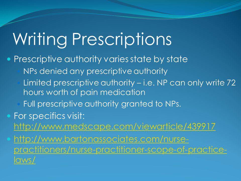 Writing Prescriptions Prescriptive authority varies state by state NPs denied any prescriptive authority Limited prescriptive authority – i.e. NP can