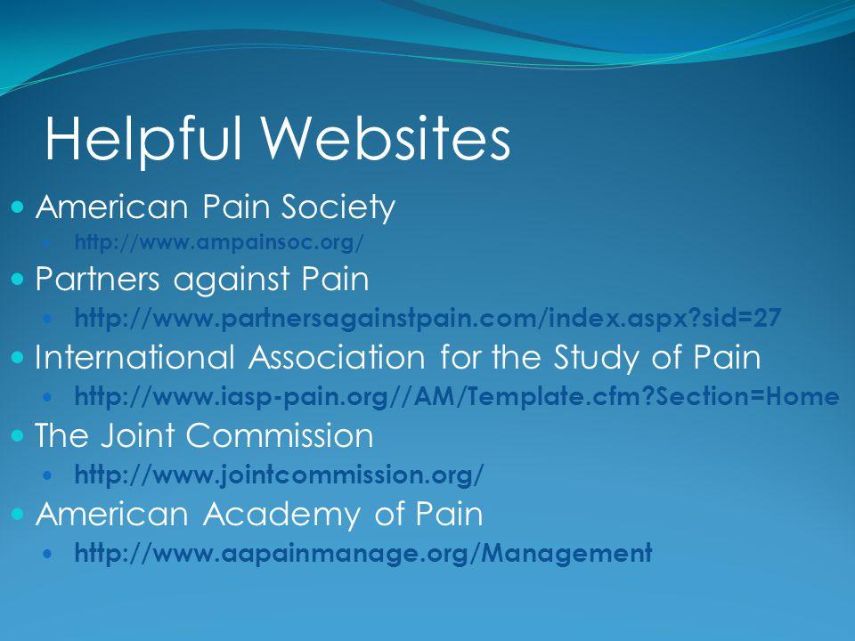 Helpful Websites American Pain Society http://www.ampainsoc.org/ Partners against Pain http://www.partnersagainstpain.com/index.aspx?sid=27 Internatio