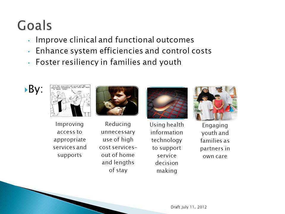 Children and youth with severe behavioral health challenges In or at risk of residential placement On multiple psychotropic medications In, or at-risk of involvement with, child welfare In other out of home settings, e.g., therapeutic group homes Frequent emergency room visits or admissions to psychiatric hospitals Draft July 11, 2012