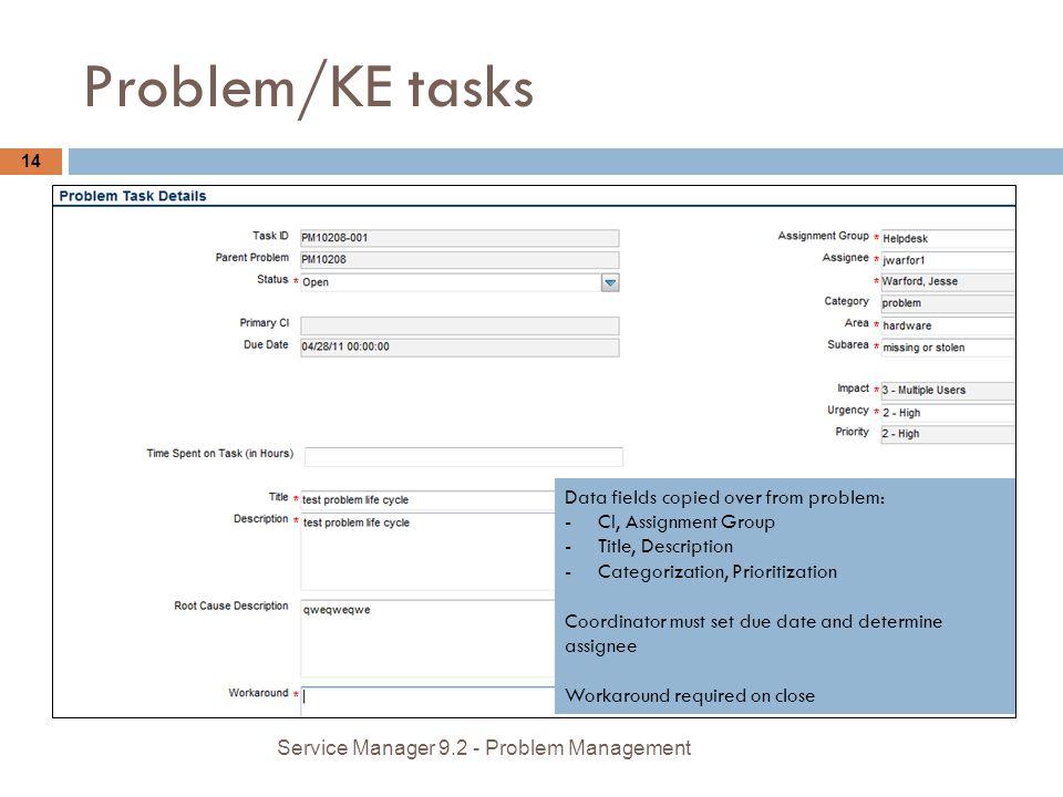 Problem/KE tasks 14 Data fields copied over from problem: -CI, Assignment Group -Title, Description -Categorization, Prioritization Coordinator must s