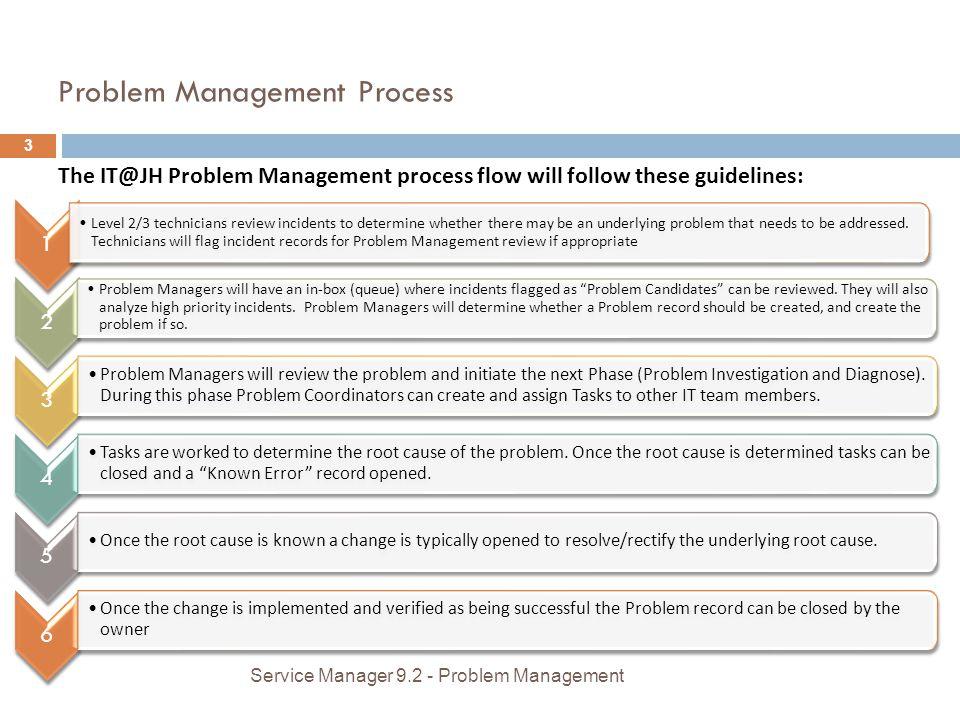 Problem Management Process The IT@JH Problem Management process flow will follow these guidelines: 1 Level 2/3 technicians review incidents to determi