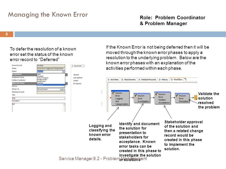 Managing the Known Error Role: Problem Coordinator & Problem Manager To defer the resolution of a known error set the status of the known error record to Deferred If the Known Error is not being deferred then it will be moved through the known error phases to apply a resolution to the underlying problem.