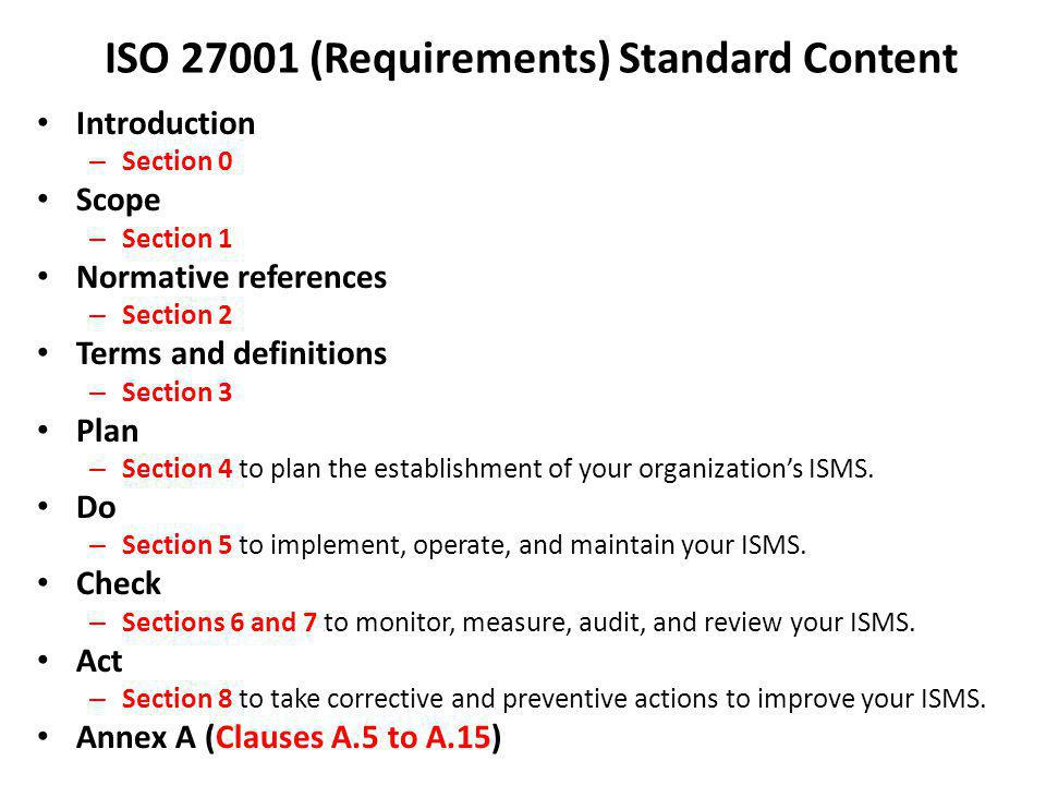 ISO 27001 (Requirements) Standard Content Introduction – Section 0 Scope – Section 1 Normative references – Section 2 Terms and definitions – Section