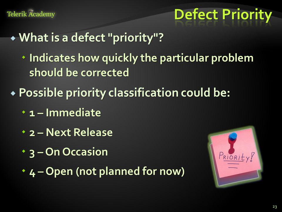 What is a defect priority . What is a defect priority .