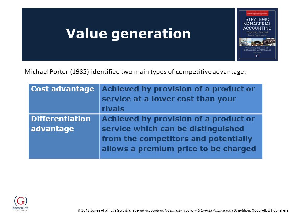 © 2012 Jones et al: Strategic Managerial Accounting: Hospitality, Tourism & Events Applications 6thedition, Goodfellow Publishers Value generation Cost advantage Achieved by provision of a product or service at a lower cost than your rivals Differentiation advantage Achieved by provision of a product or service which can be distinguished from the competitors and potentially allows a premium price to be charged Michael Porter (1985) identified two main types of competitive advantage: