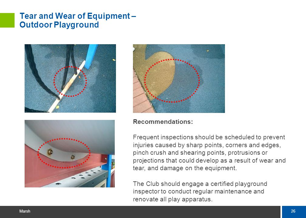 26 Marsh Tear and Wear of Equipment – Outdoor Playground Recommendations: Frequent inspections should be scheduled to prevent injuries caused by sharp points, corners and edges, pinch crush and shearing points, protrusions or projections that could develop as a result of wear and tear, and damage on the equipment.