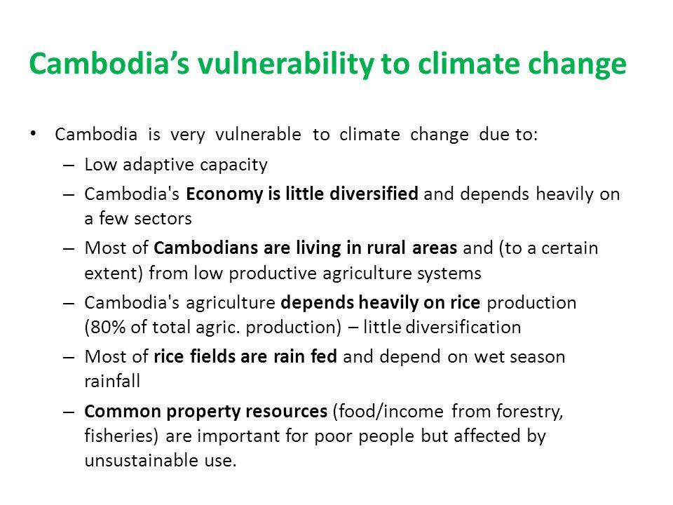 Cambodias vulnerability to climate change Cambodia is very vulnerable to climate change due to: – Low adaptive capacity – Cambodia's Economy is little