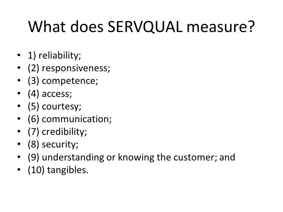 What does SERVQUAL measure.