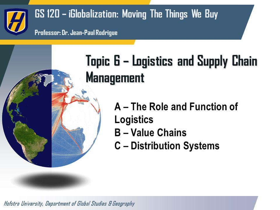 The Commodity Chain (or Value Chain) Transport Chain Raw materials Manufacturing and assembly Distribution Bulk shippingUnit shipping High volumes Low frequency Low volumes High frequency LTL shipping Average volumes High frequency 1- Commodities3- Final Goods2- Intermediate Goods Attributable to climatic (agricultural products, forestry products) or geological (ores and fossil fuels) conditions.