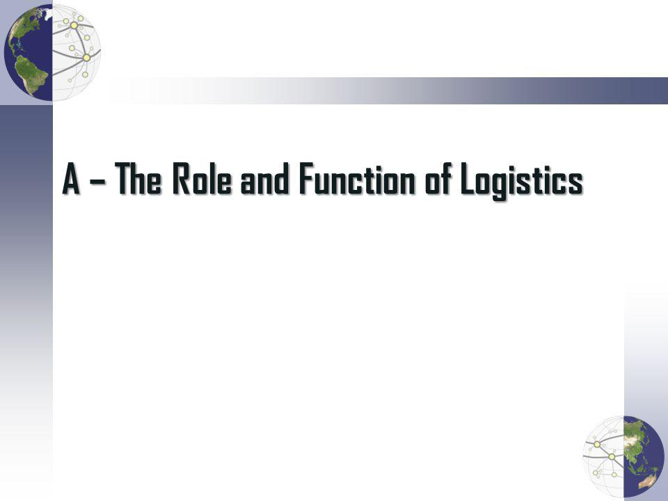 A – The Role and Function of Logistics