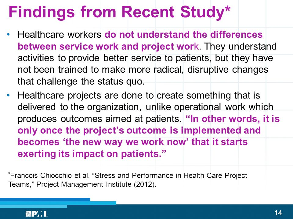 14 Findings from Recent Study* Healthcare workers do not understand the differences between service work and project work. They understand activities