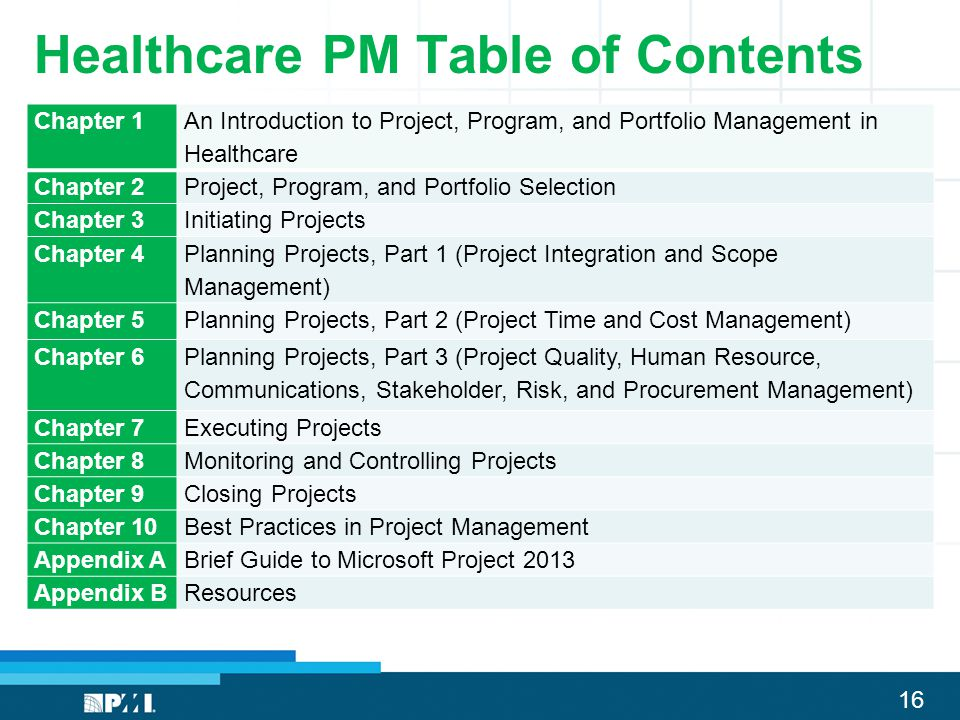 16 Healthcare PM Table of Contents Chapter 1 An Introduction to Project, Program, and Portfolio Management in Healthcare Chapter 2Project, Program, an