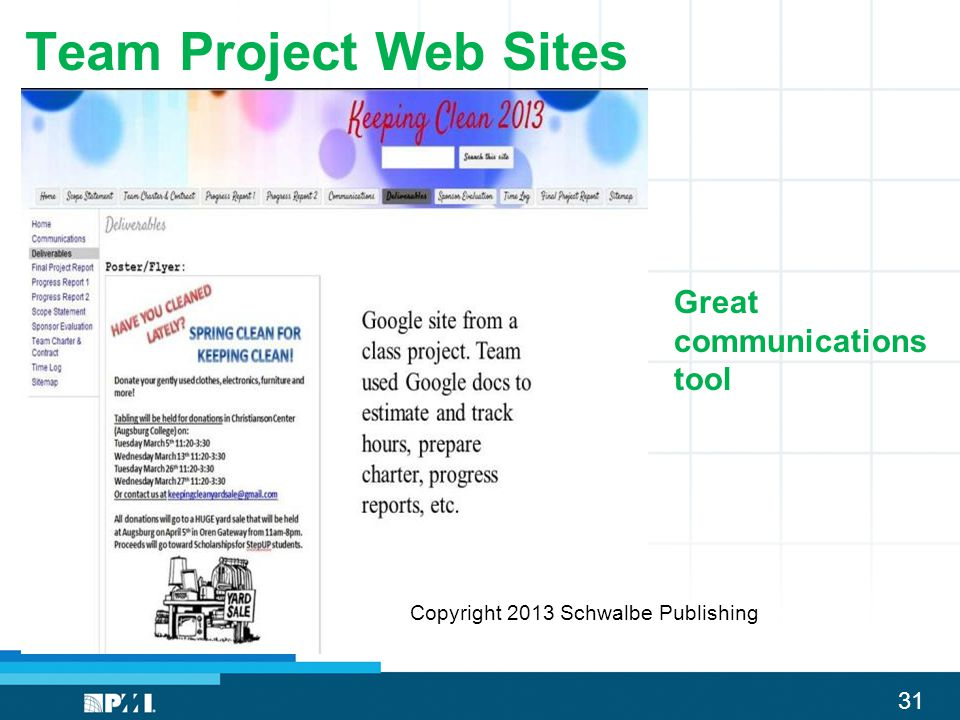 31 Team Project Web Sites Great communications tool Copyright 2013 Schwalbe Publishing