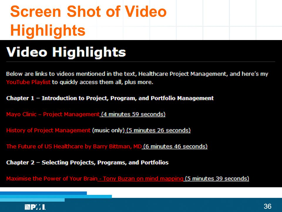 36 Screen Shot of Video Highlights