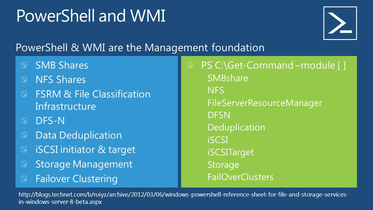 PowerShell & WMI are the Management foundation SMB Shares NFS Shares FSRM & File Classification Infrastructure DFS-N Data Deduplication iSCSI initiato