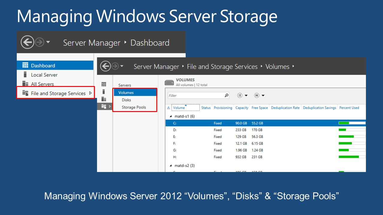 Managing Windows Server 2012 Volumes, Disks & Storage Pools