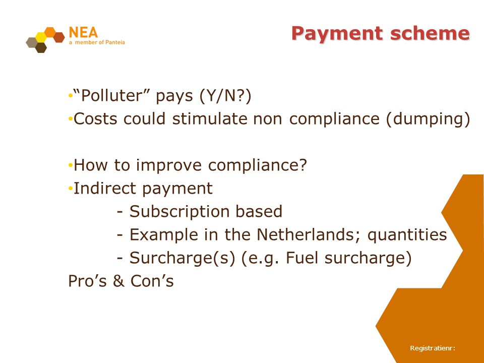 Registratienr: Payment scheme Polluter pays (Y/N?) Costs could stimulate non compliance (dumping) How to improve compliance? Indirect payment - Subscr