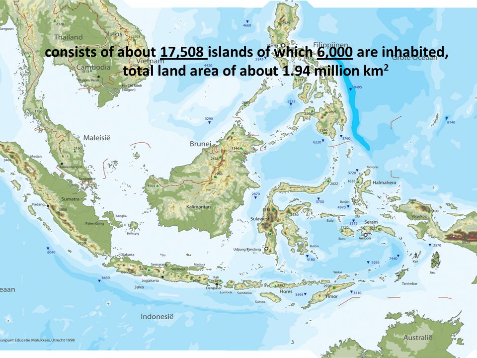 consists of about 17,508 islands of which 6,000 are inhabited, total land area of about 1.94 million km 2
