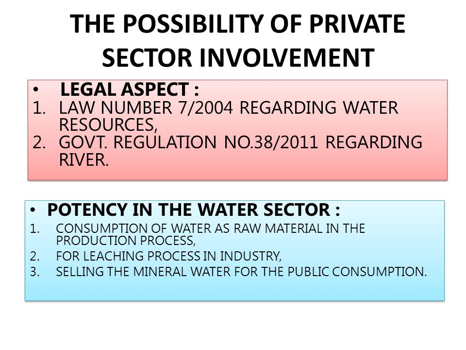 THE POSSIBILITY OF PRIVATE SECTOR INVOLVEMENT POTENCY IN THE WATER SECTOR : 1.CONSUMPTION OF WATER AS RAW MATERIAL IN THE PRODUCTION PROCESS, 2.FOR LE
