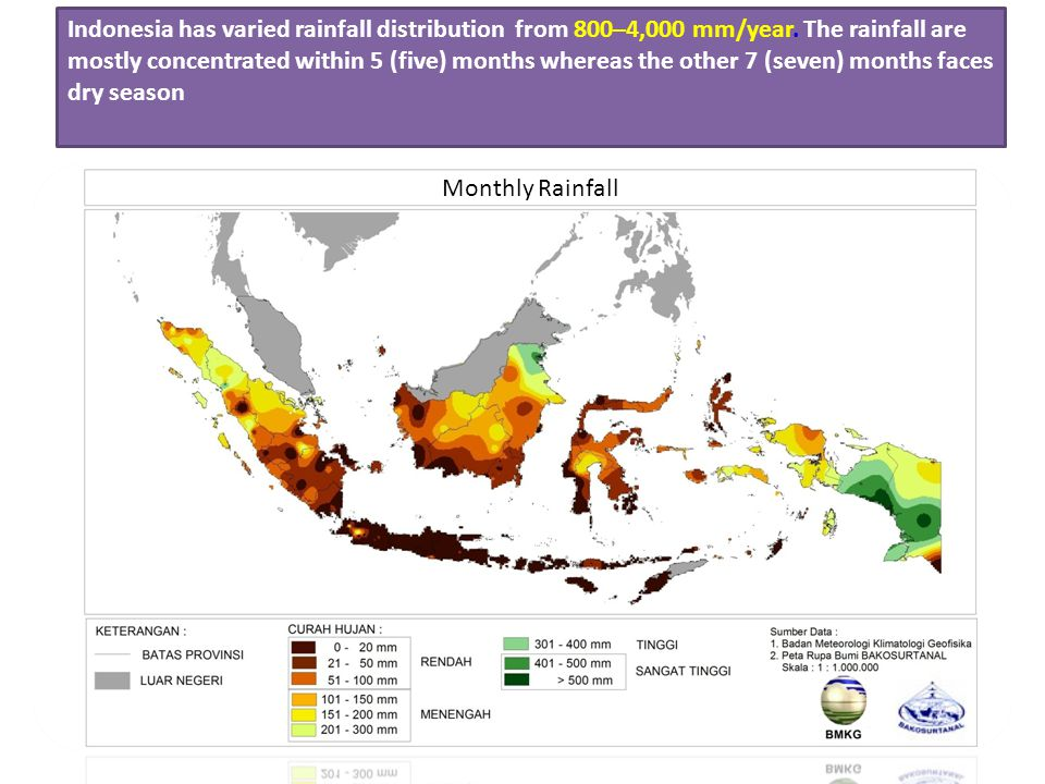 Indonesia has varied rainfall distribution from 800–4,000 mm/year. The rainfall are mostly concentrated within 5 (five) months whereas the other 7 (se